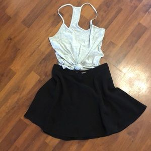 Black Express flare mini skirt